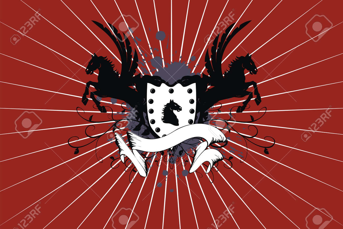 heraldic horse background Stock Vector - 8495395
