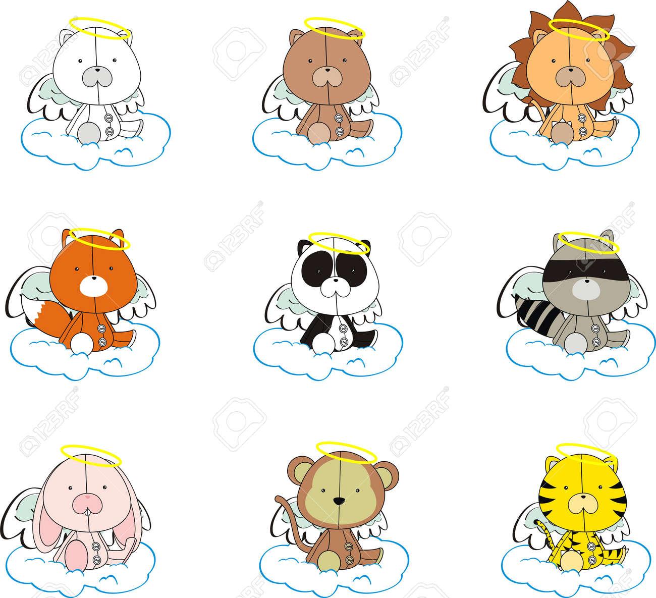 animals angel cartoon set Stock Vector - 8618230