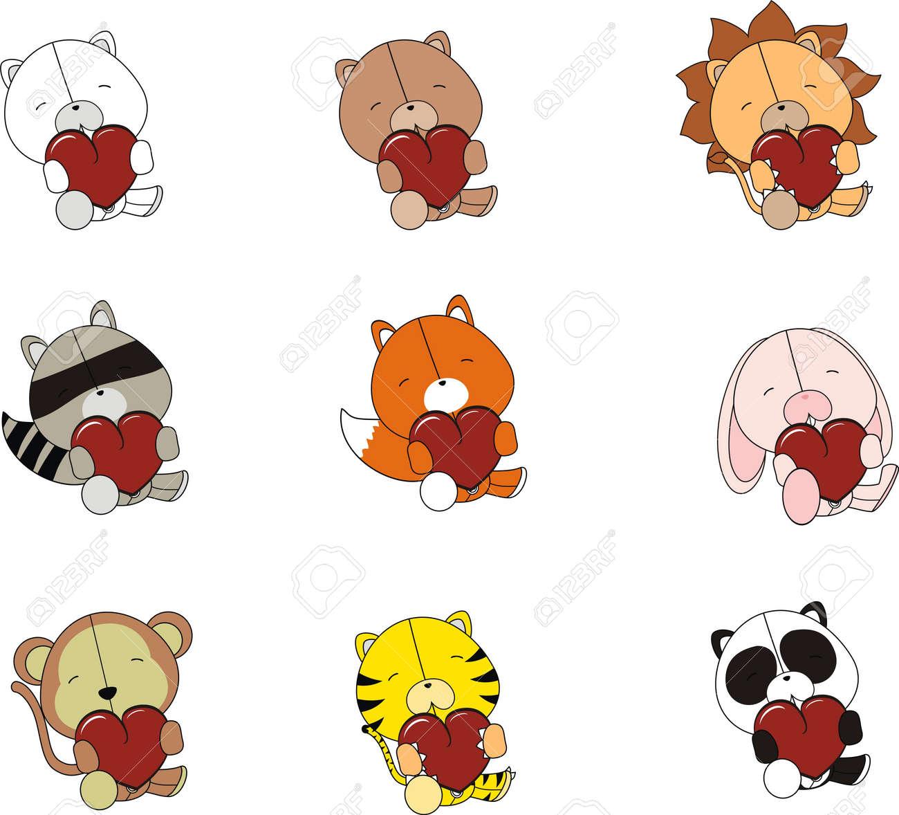 valentine plush animals set Stock Vector - 8641656