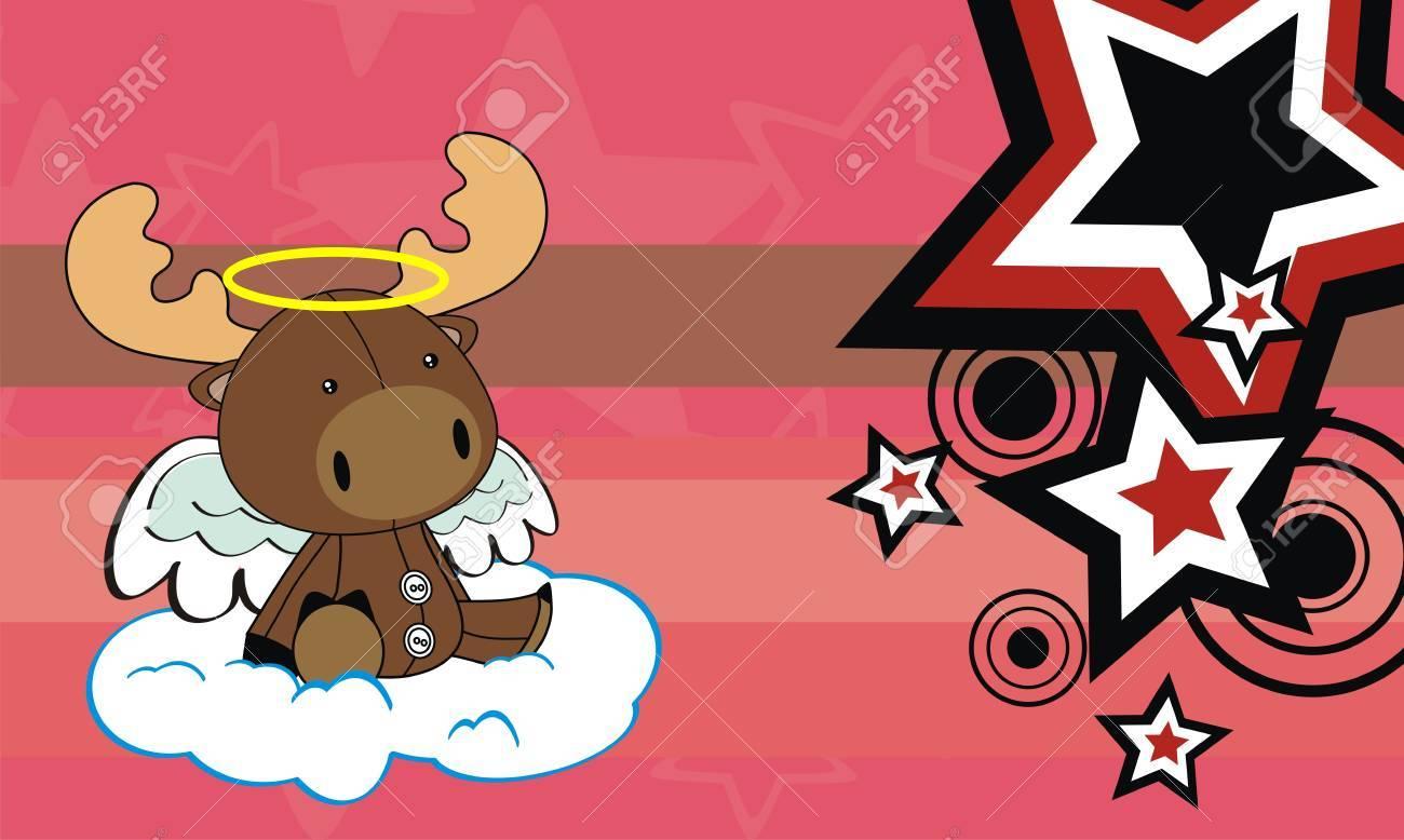 reindeer angel background cartoon Stock Vector - 8722063