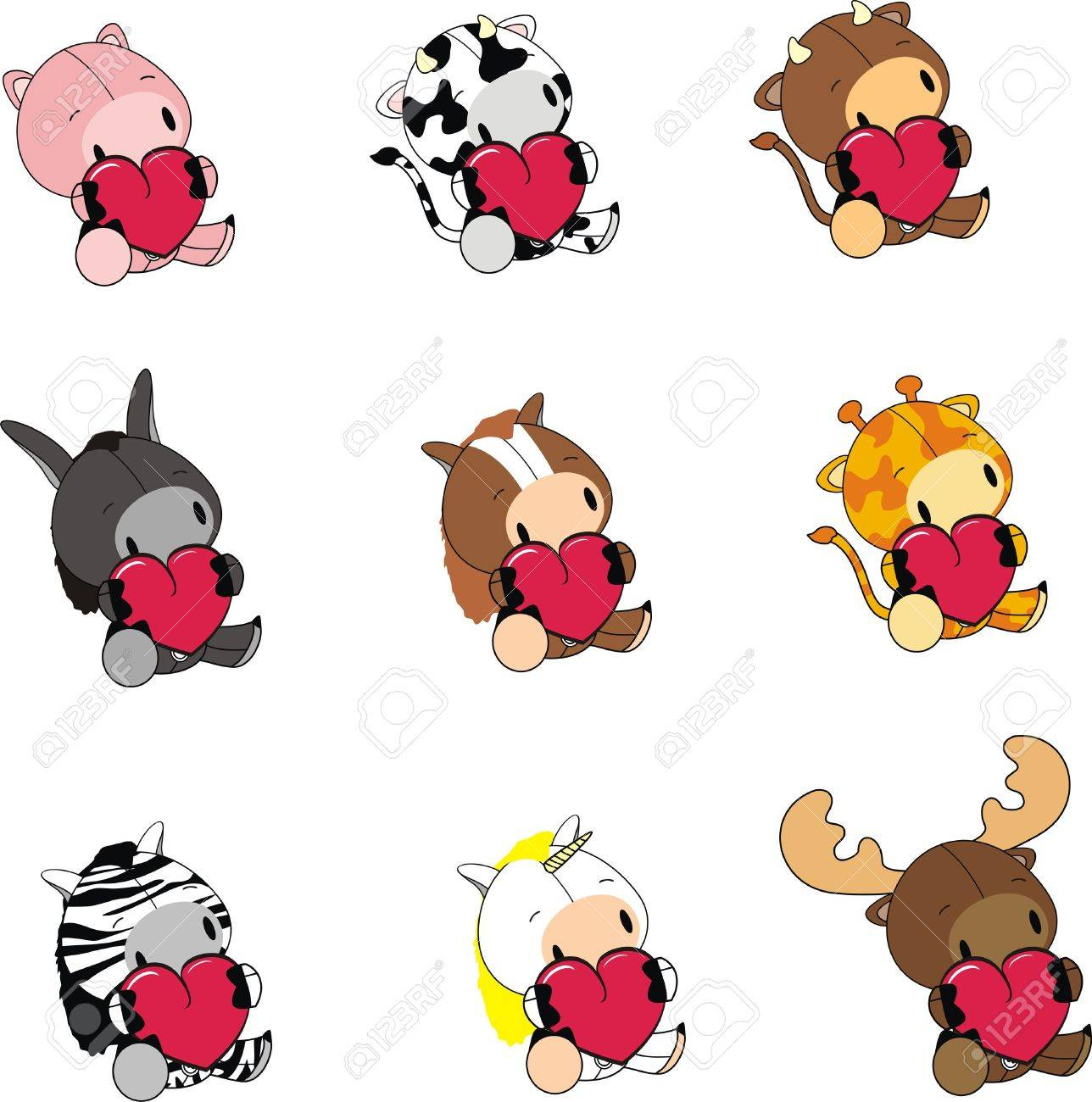 Animals Cartoon Valentine Set Royalty Free Cliparts, Vectors, And ...