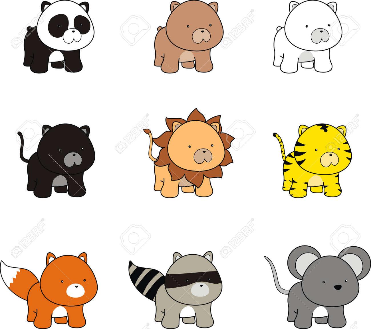 漫画の動物の赤ちゃん ロイヤリティフリークリップアート、ベクター
