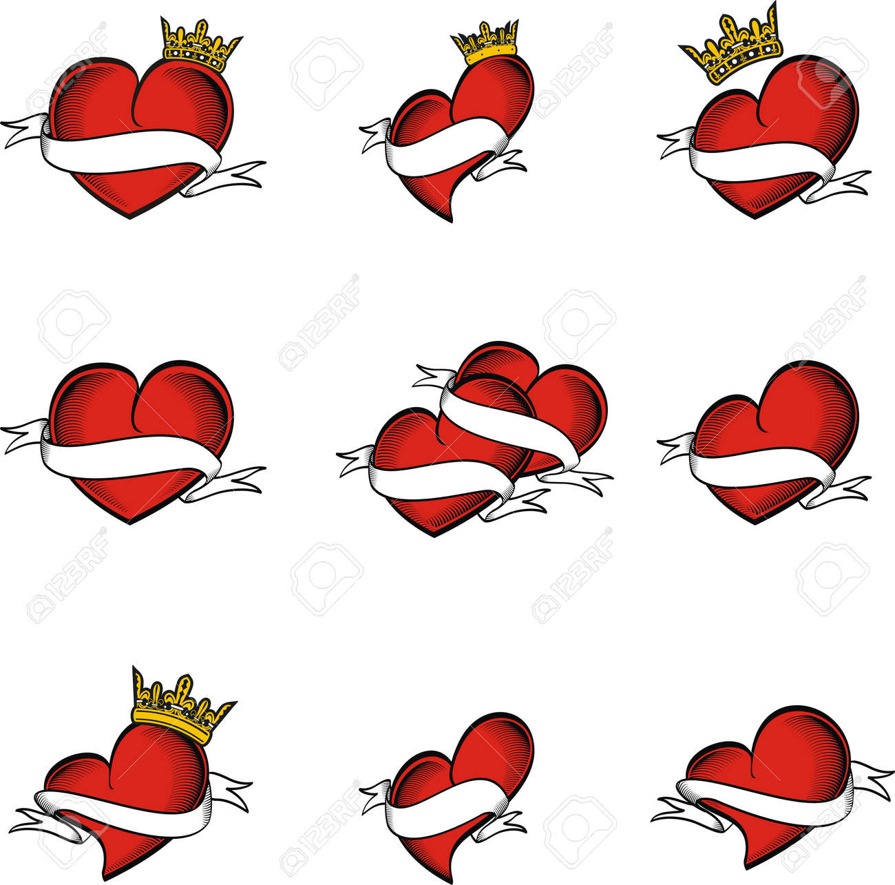 Heart Tattoo Crown In Vector Format Very Easy To Edit Royalty Free