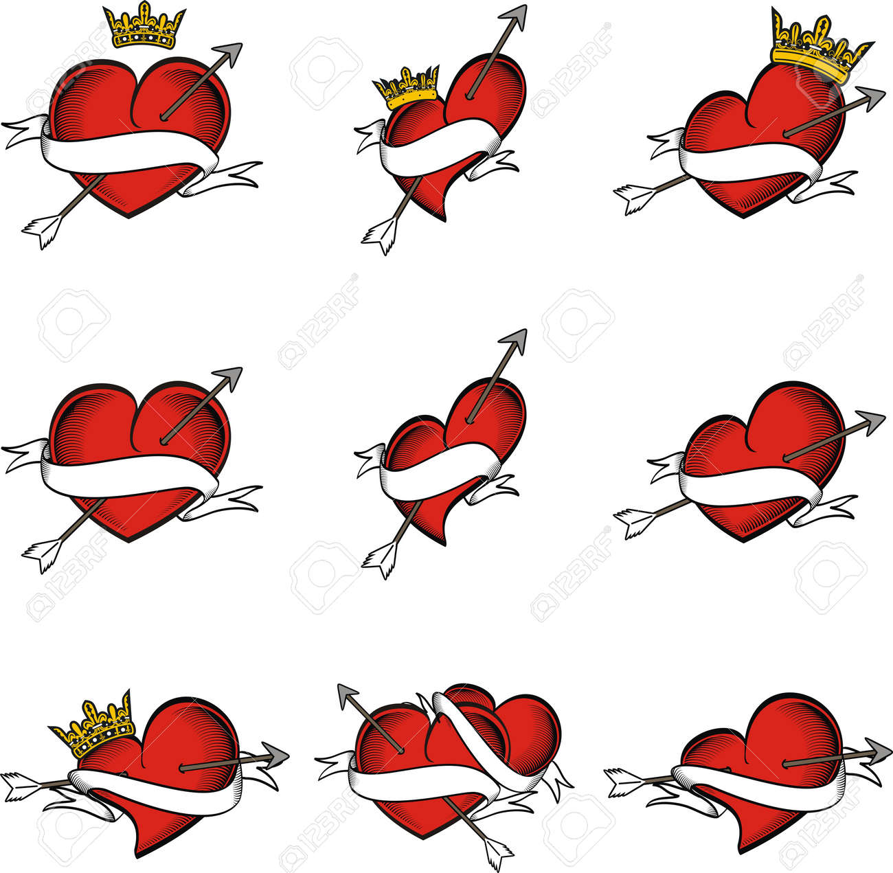 446ad8ef87edc heart tattoo crown arrow in vector format very easy to edit Stock Vector -  9403868