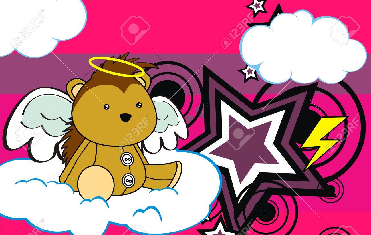 porcupine angel cartoon background in vector format Stock Vector - 9635163