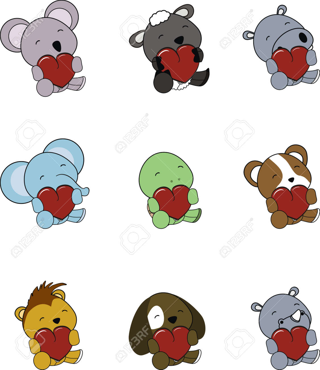 valentine cartoon animals set in vector format Stock Vector - 9680342