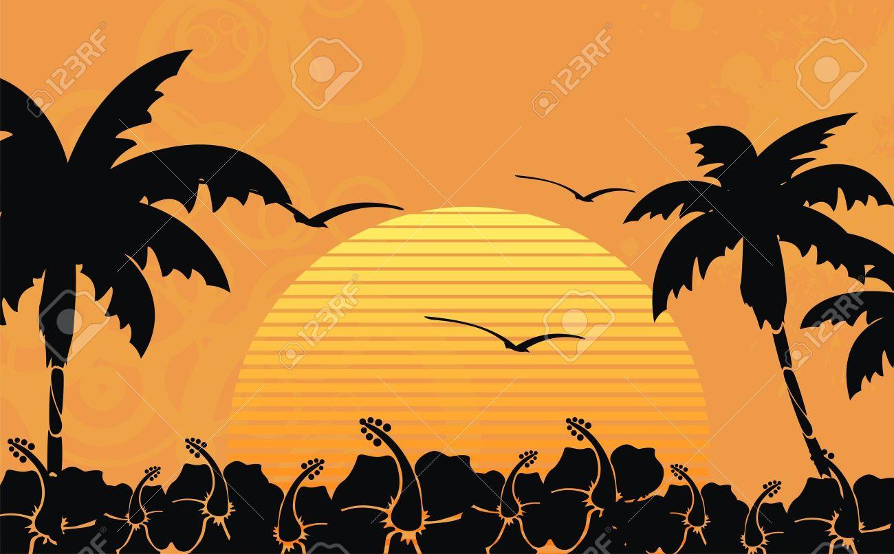 hawaiian tropical beach background in vector format Stock Vector - 9883282