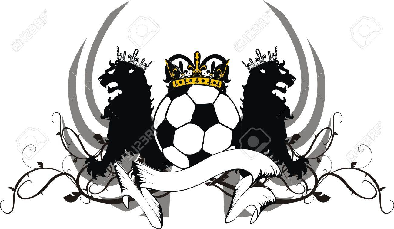 Heraldic Soccer Lion Crest In Vector Format Royalty Free Cliparts