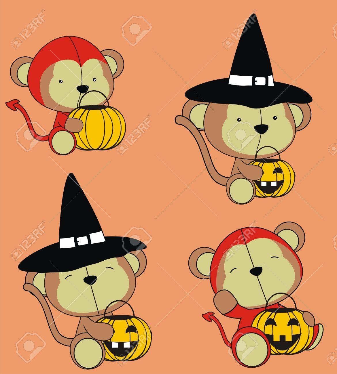 Monkey Baby Cartoon Halloween Set Royalty Free Cliparts, Vectors ...