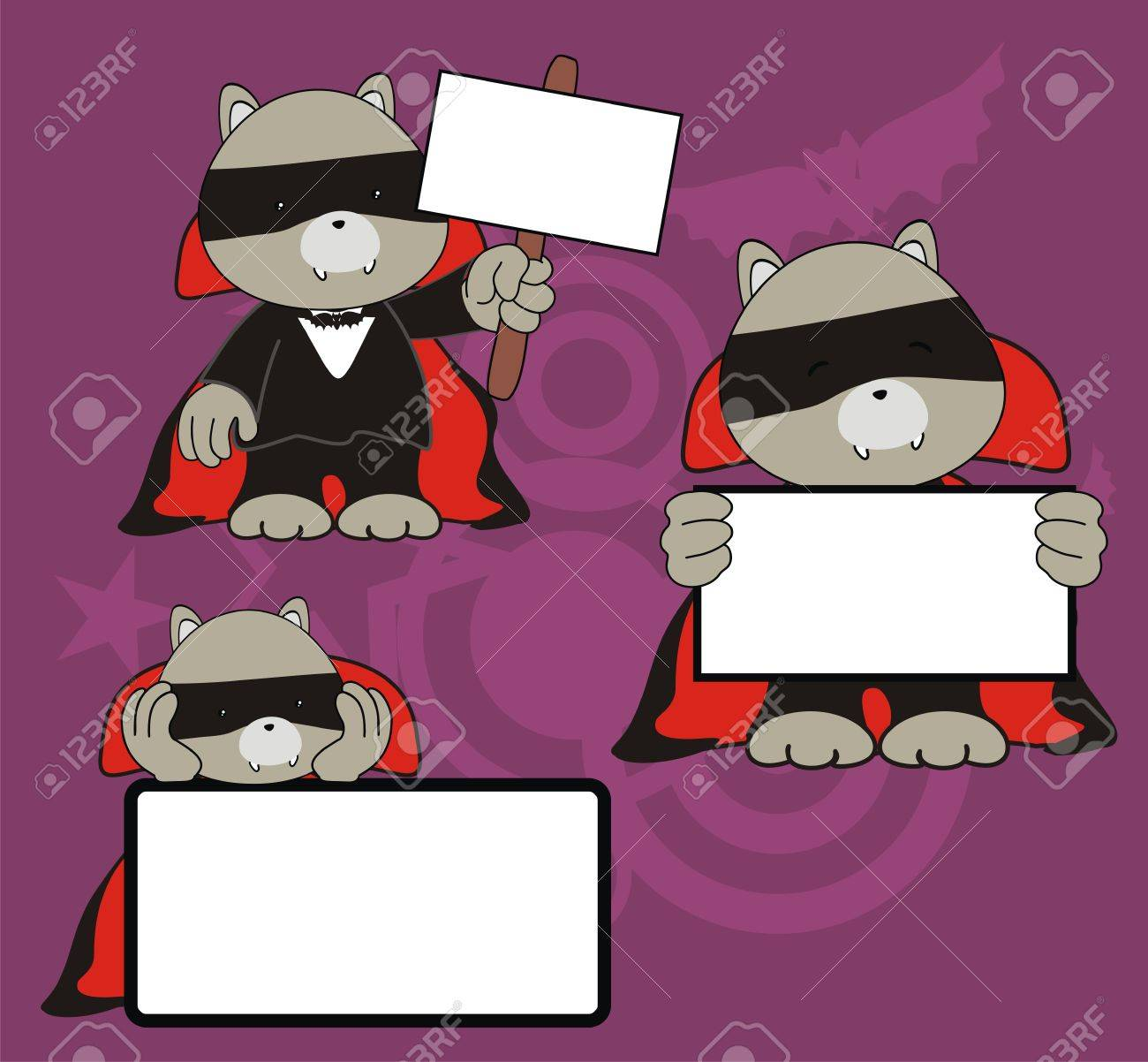 raccoon dracula cartoon signboard set Stock Vector - 10908805