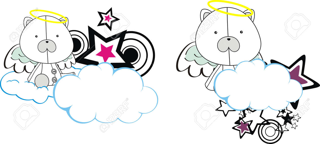 polar bear angel kid cartoon copysapce Stock Vector - 11262600