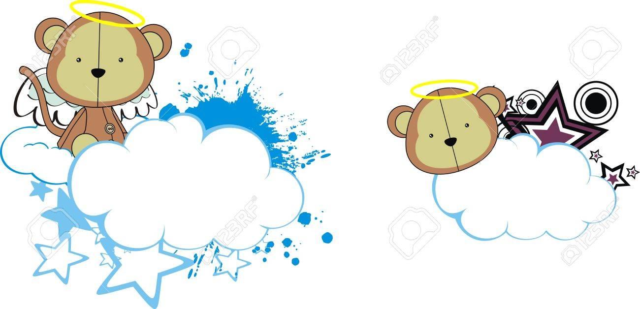 monkey angel kid cartoon copyspace Stock Vector - 11262617