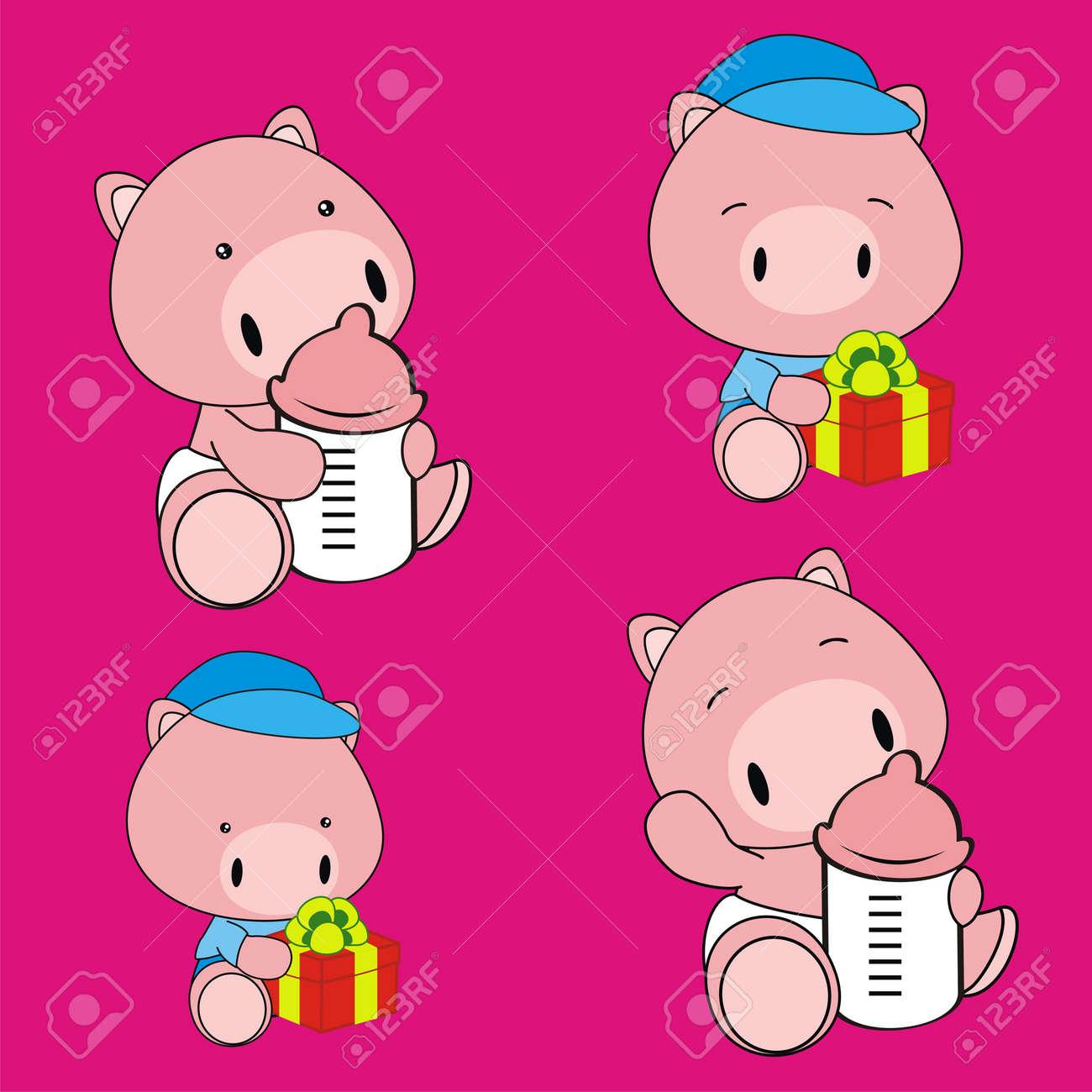 Bebé Cerdo Conjunto De Dibujos Animados En Formato Muy Fácil De ...