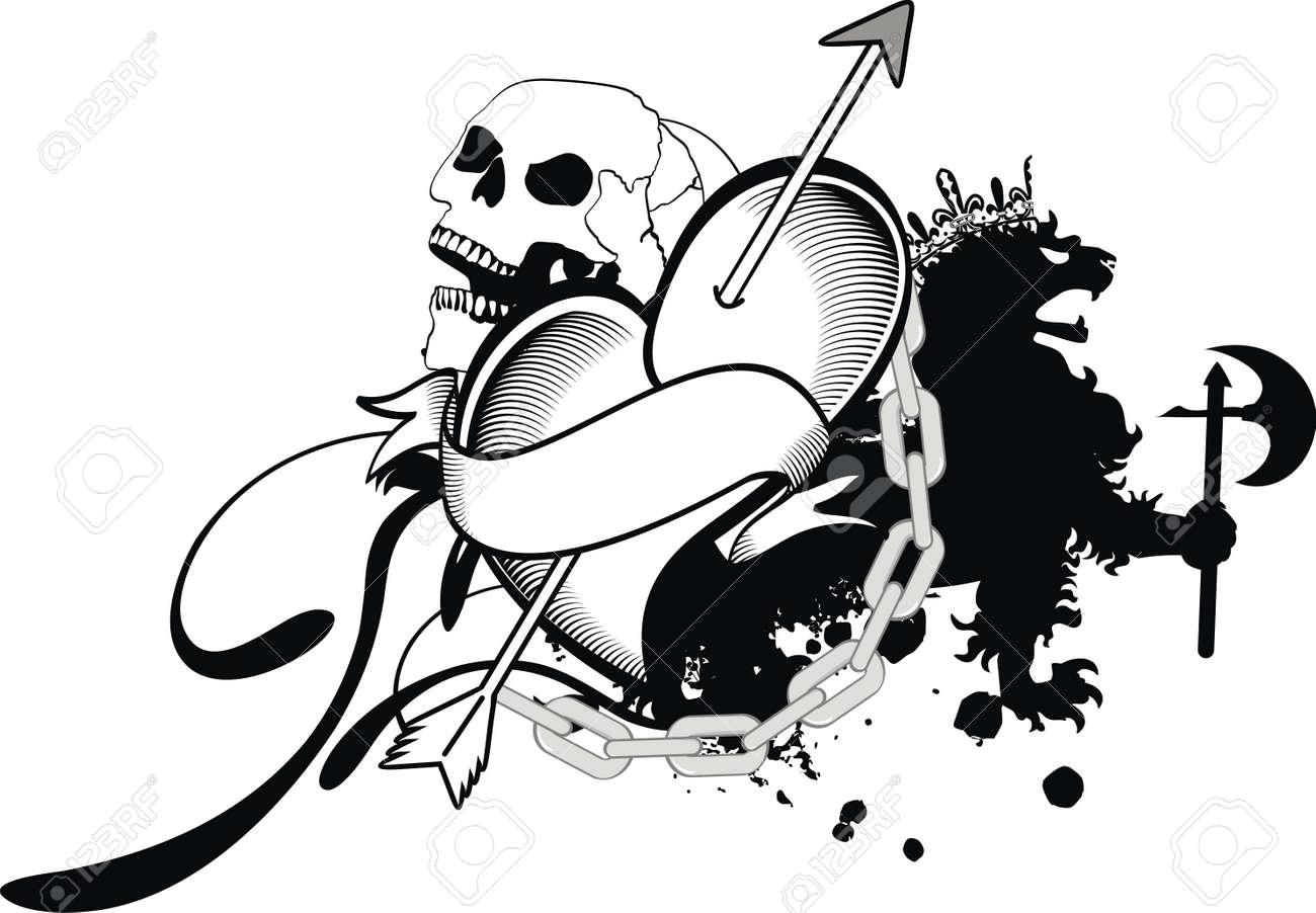 heraldic heart tattoo Stock Vector - 14842245