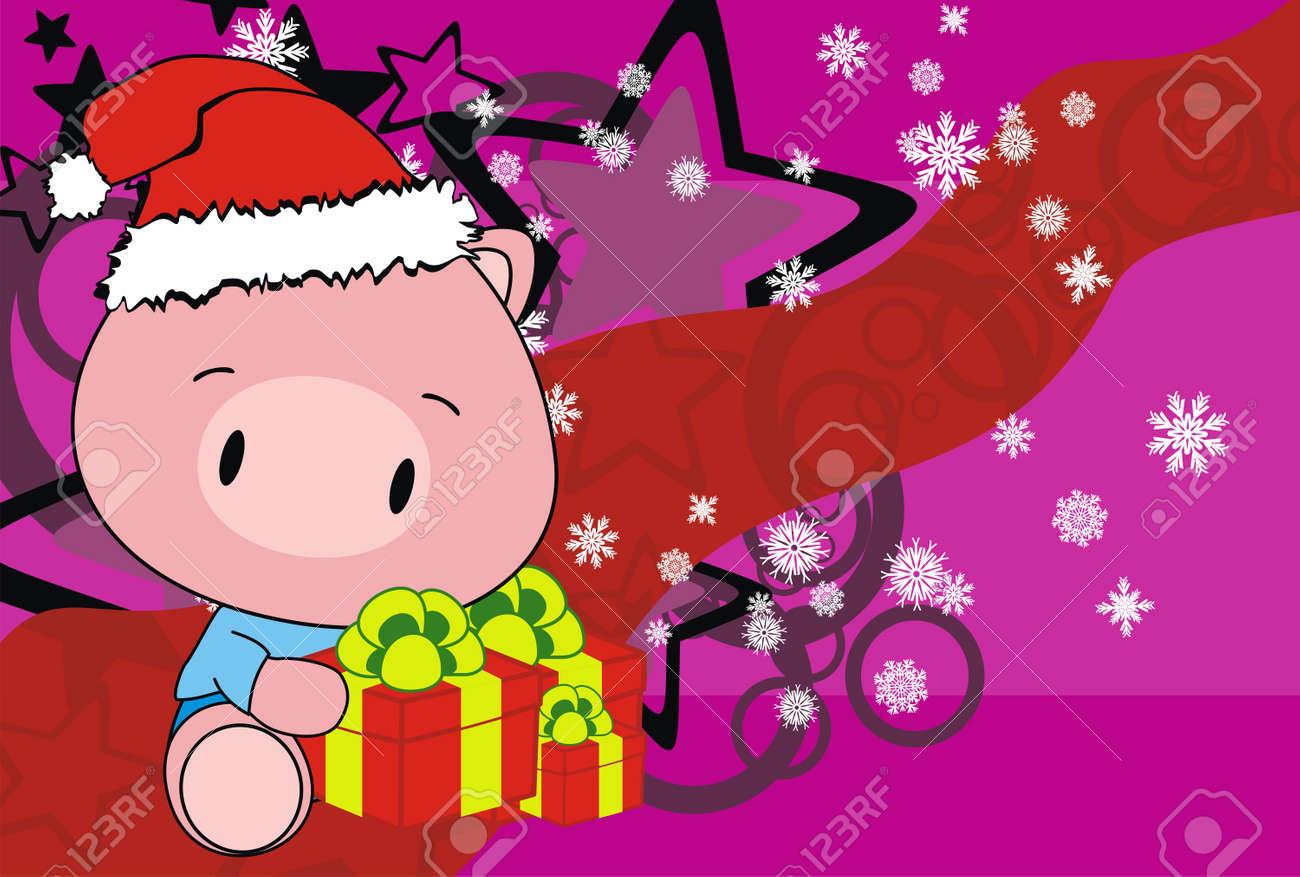 pig baby claus cartoon background in vector format Stock Vector - 16470091