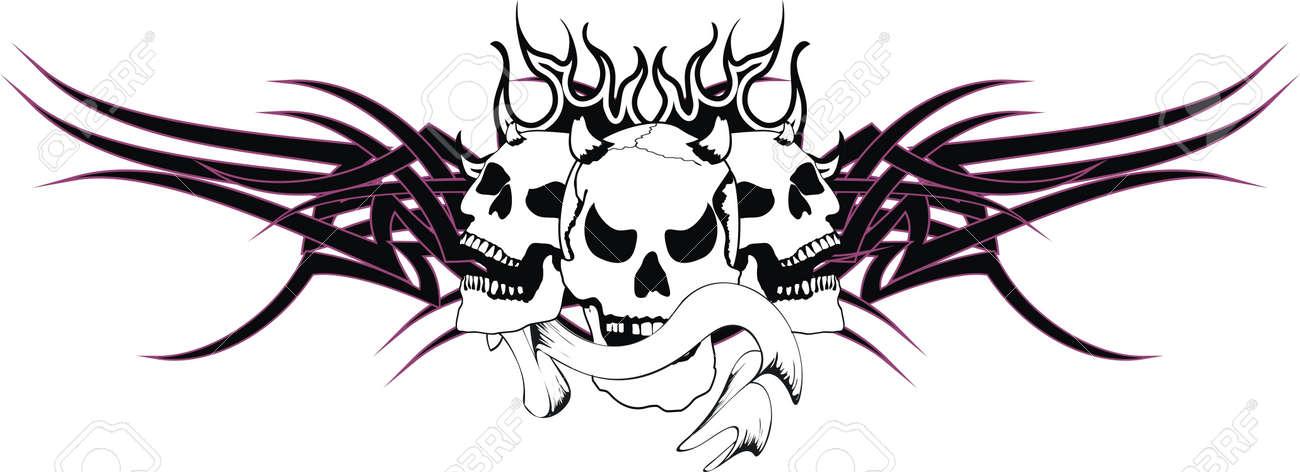 Skull Tribal Tattoo Royalty Free Cliparts Vectors And Stock