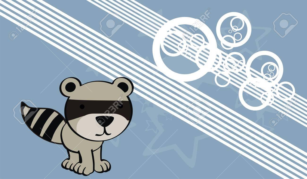 Waschbär Süße Baby-Cartoon-Hintergrund Im Vektor-Format Lizenzfrei ...