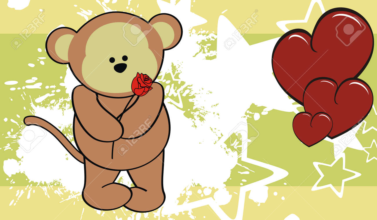 Monkey Love Valentine Wallpaper Cartoon In Vector Format Royalty ...