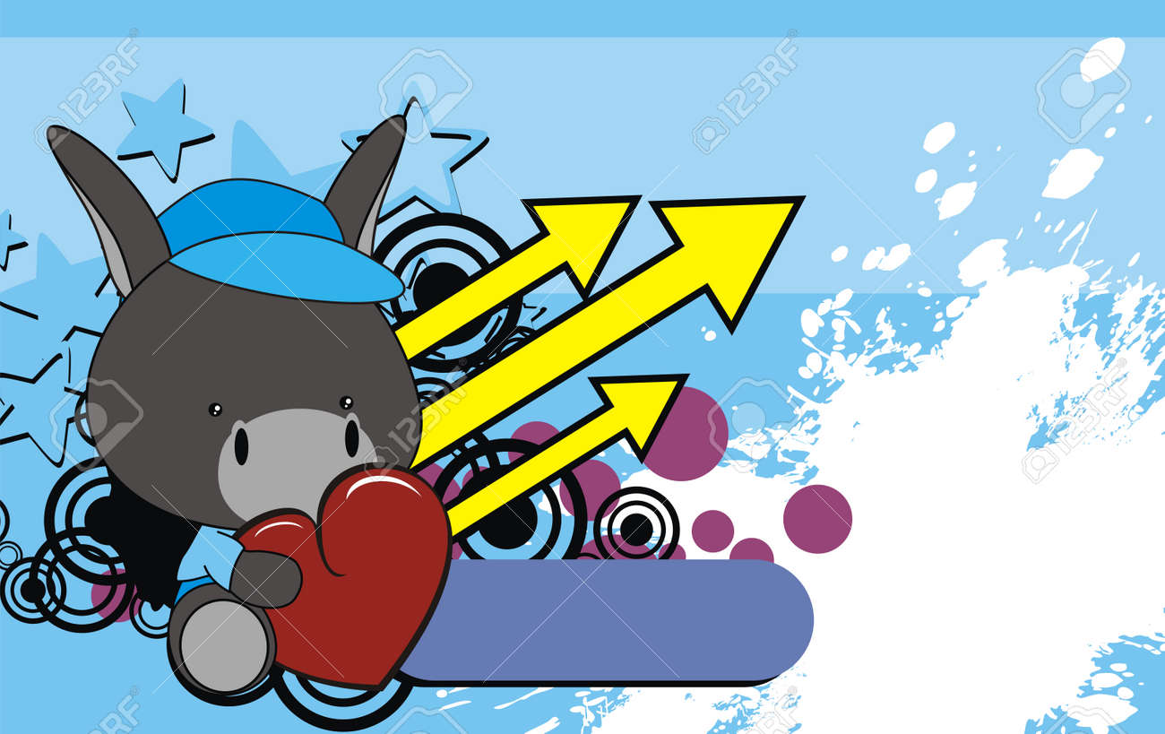 Donkey Cartoon Baby Wallpaper Stock Vector