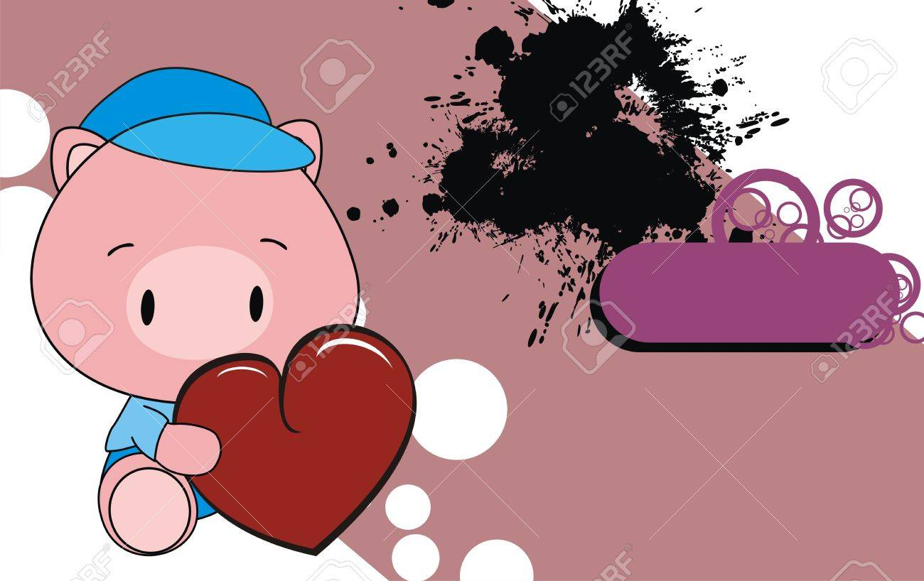 Pig Cartoon Baby Wallpaper Stock Vector