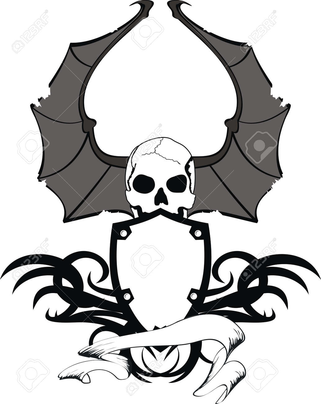 skull bat wings sticker tattoo royalty free cliparts vectors and rh 123rf com