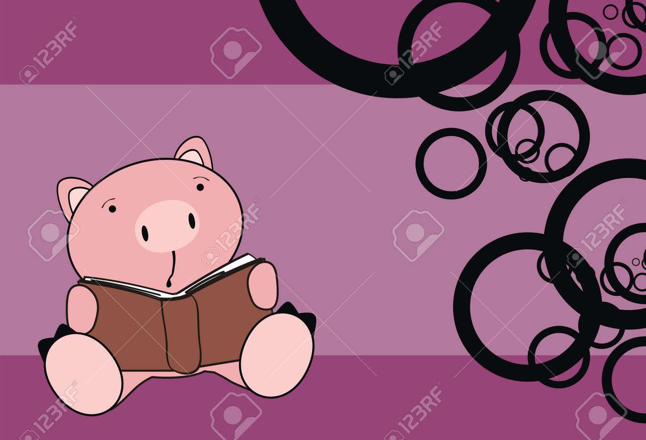 Pig Baby Reading Cartoon Wallpaper In Vector Format Stock