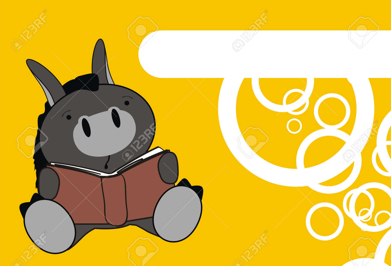 Donkey Baby Reading Cartoon Wallpaper In Vector Format Stock
