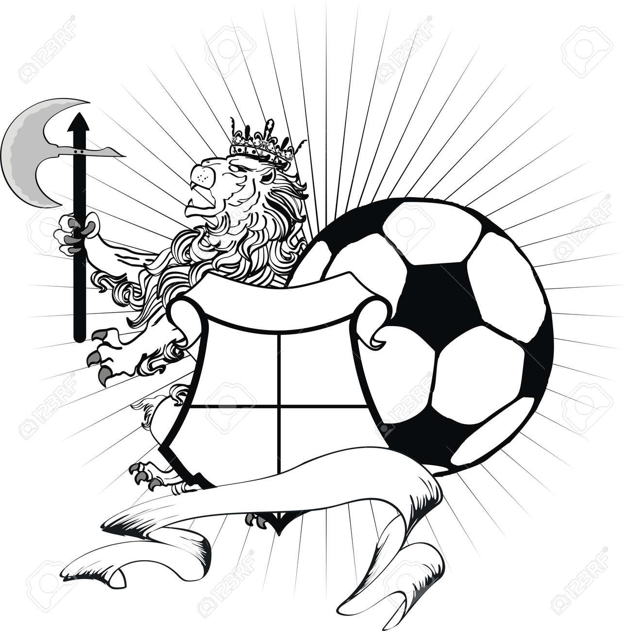 Lion Heraldique Manteau De Football Bras Lion De Tatouage Dans Un