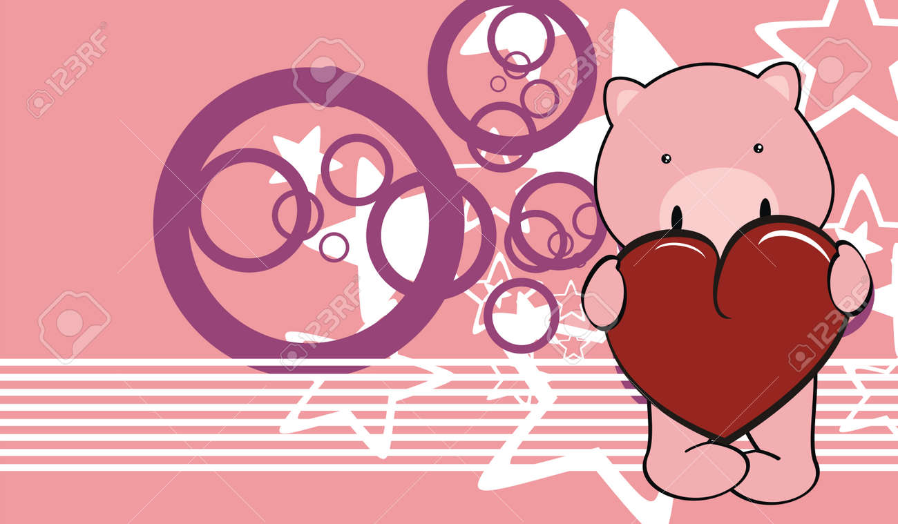 pig baby cute cartoon valentine background in vector format stock vector 30183996 - Valentine Pig