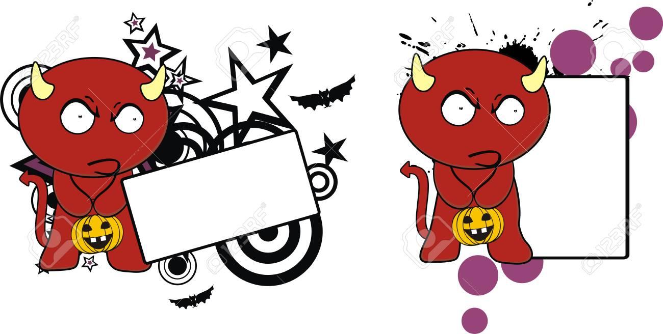 Devil Cute Cartoon Copyspace Halloween In Vector Format Very
