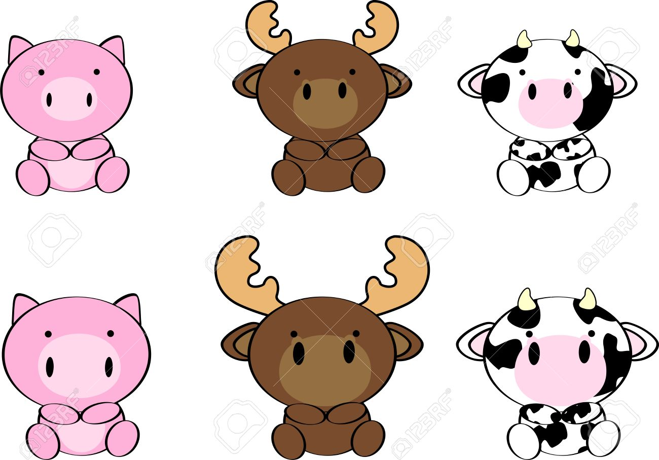 Cute Baby Animals Cartoon Set In Vector Format Very Easy To Edit Royalty Free Cliparts Vectors And Stock Illustration Image 34298044