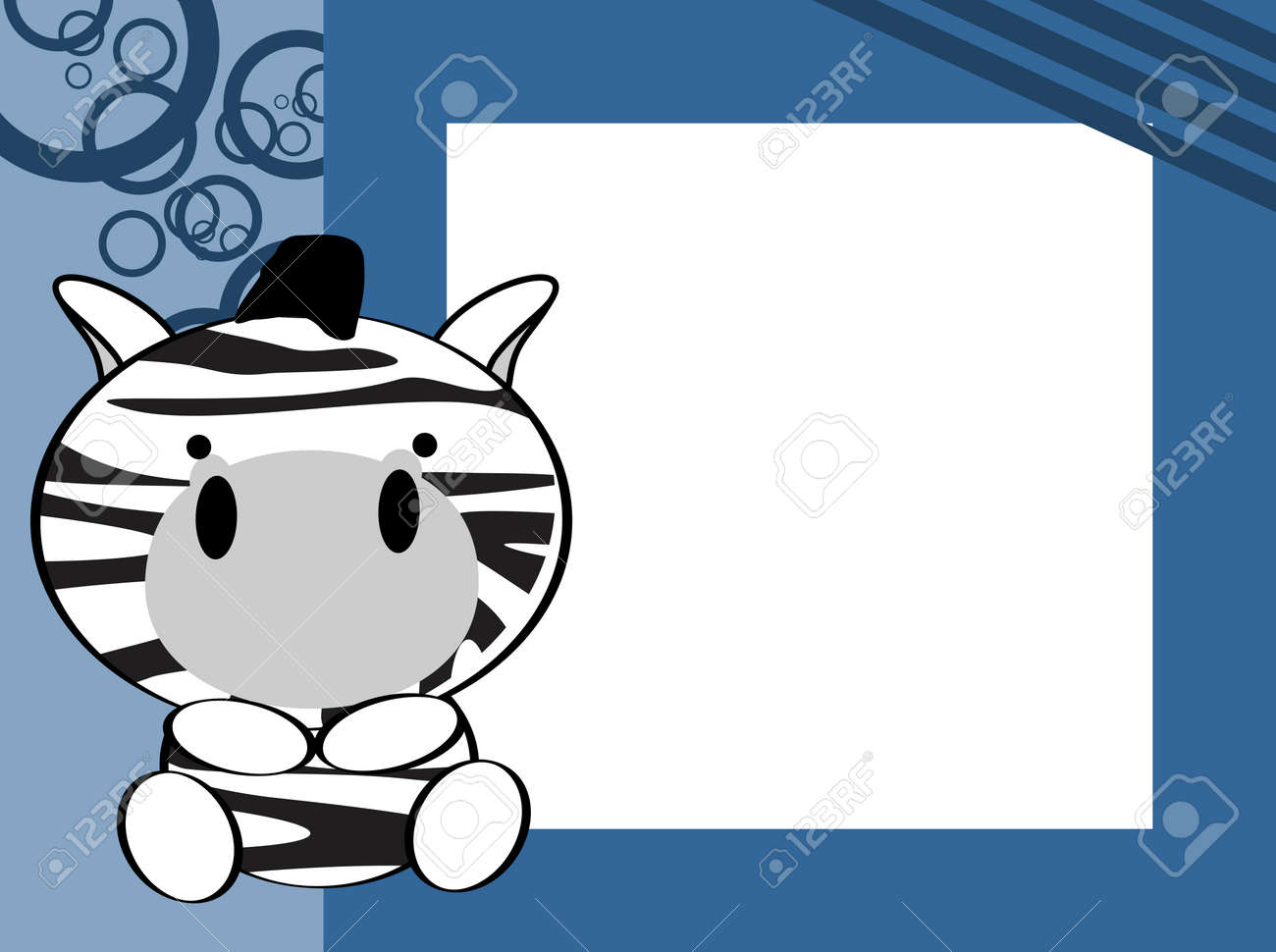 Cute Baby Zebra Picture Frame Background In Vector Format Royalty ...