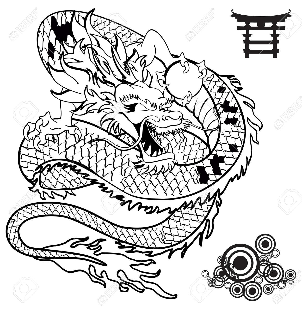 ab5d03e14 Japanese Dragon Tattoo Tshirt In Vector Format Royalty Free Cliparts ...