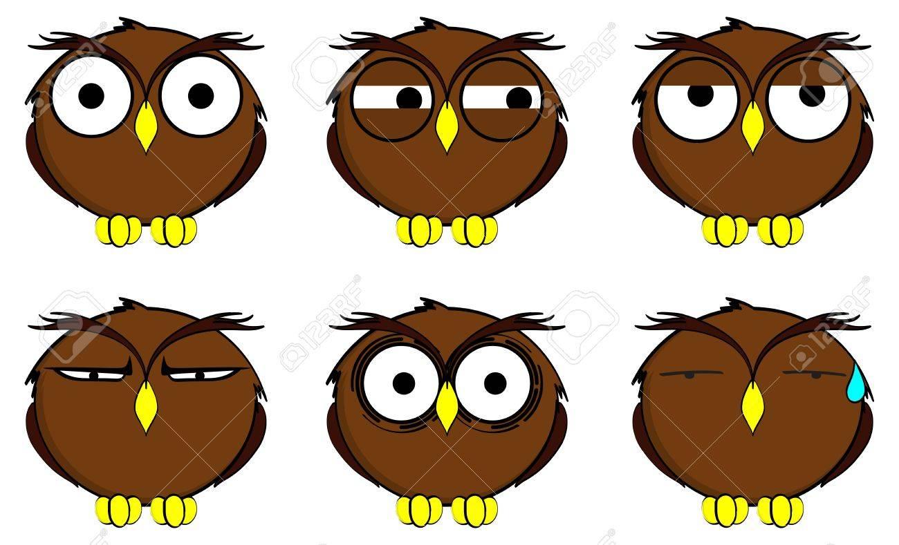 Expresiones De Dibujos Animados Búho En Formato Vectorial Muy Fácil