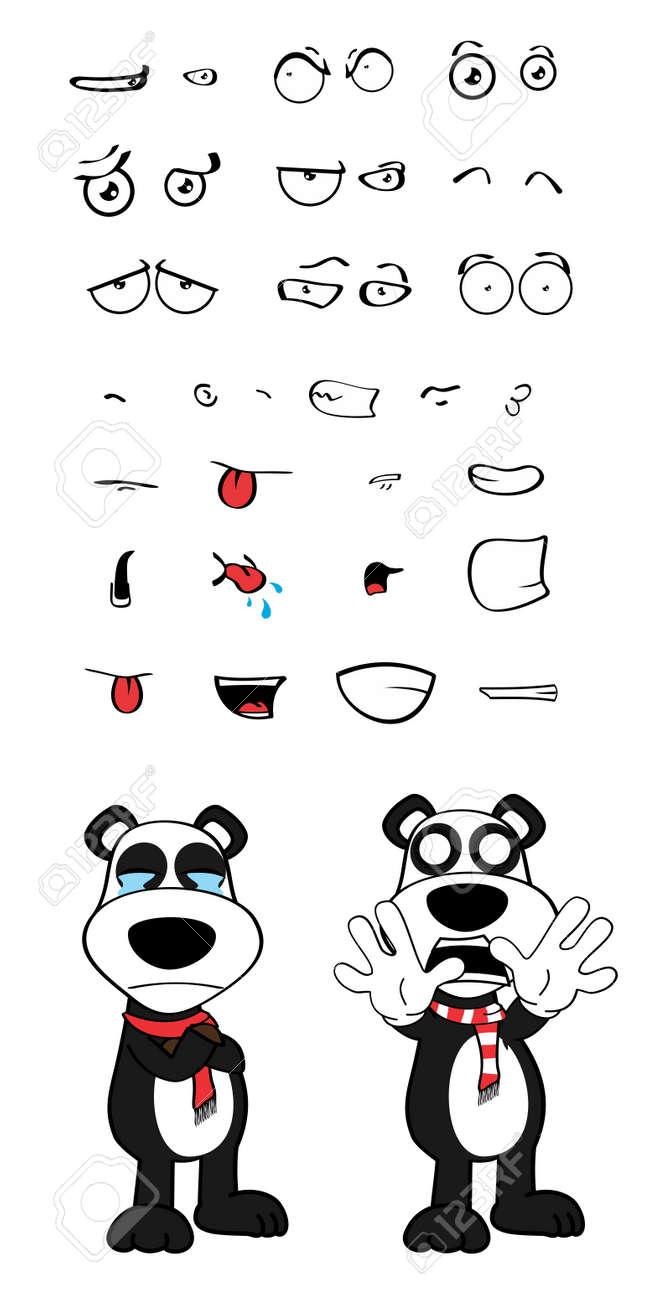 Motions De Dessin Animé De Panda Nounours Set En Format Vectoriel Très Facile à éditer