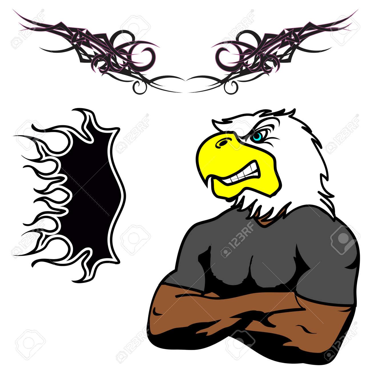 Enojado Muscular águila De Dibujos Animados Set En El Vector Fromat ...