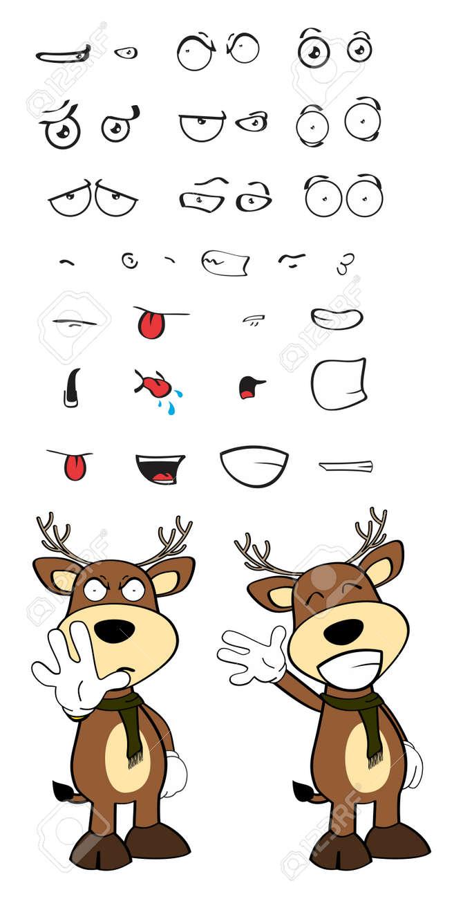 Motions De Dessin Animé De Cerf En Format Vectoriel Très Facile à