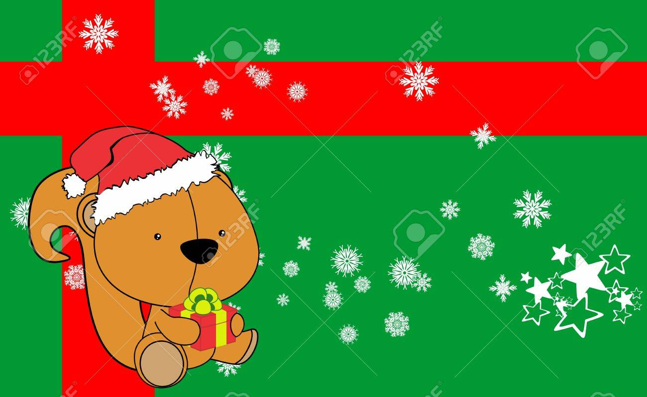 Bebe Ecureuil Dessin Anime Fond De Noel En Format Vectoriel Tres