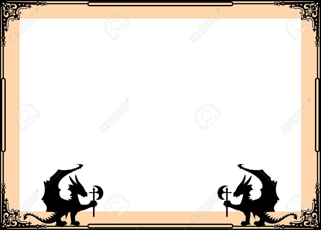 Heraldic Dragon Frame Corners In Vector Format Very Easy To Edit ...