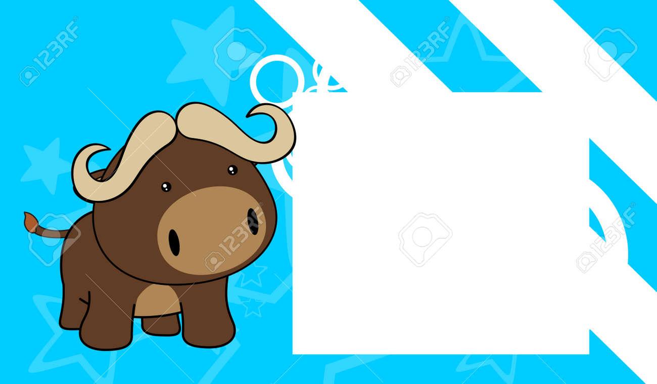 Süßes Baby Stier Cartoon Hintergrund Im Vektor-Format Rahmen ...