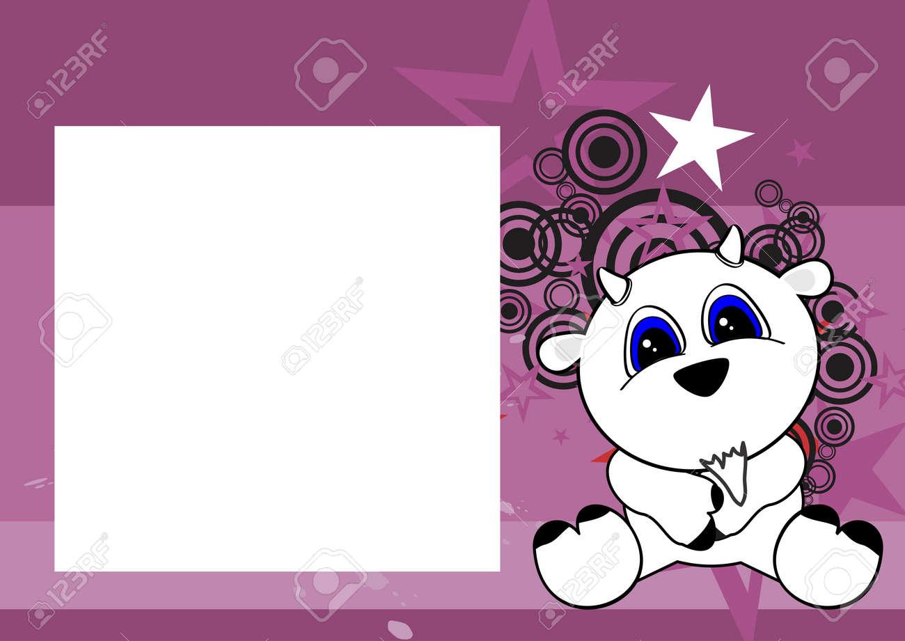 Süßes Baby Ziege Cartoon Sitzen Hintergrund Im Vektor-Format Rahmen ...