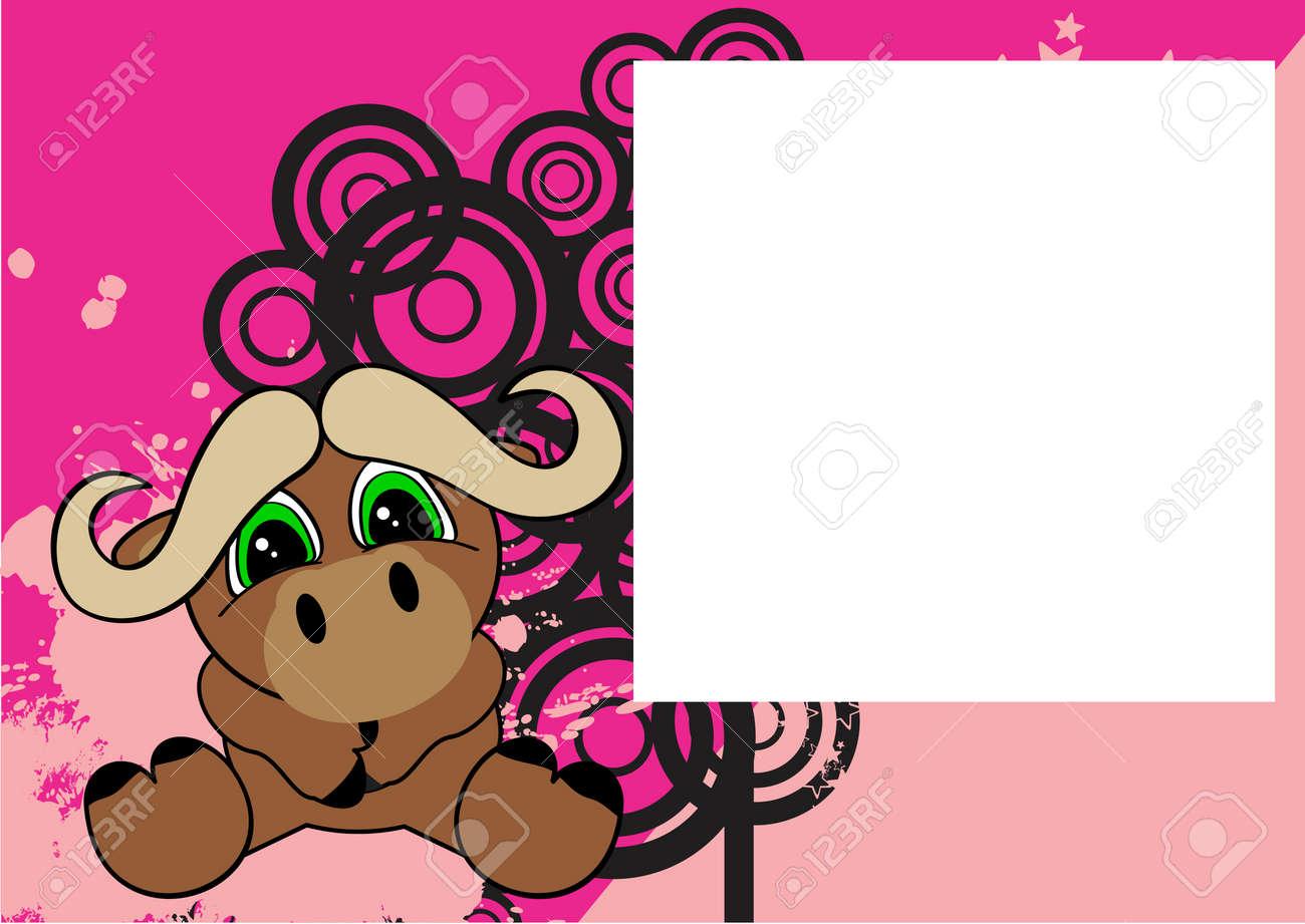 Süßes Baby Sit Ochsen Cartoon Hintergrund Im Vektor-Format Rahmen ...