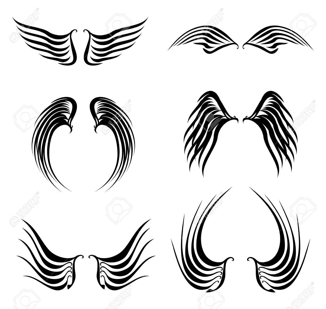 黒い翼が非常に簡単に編集するベクトル形式のセットをタトゥーしますの