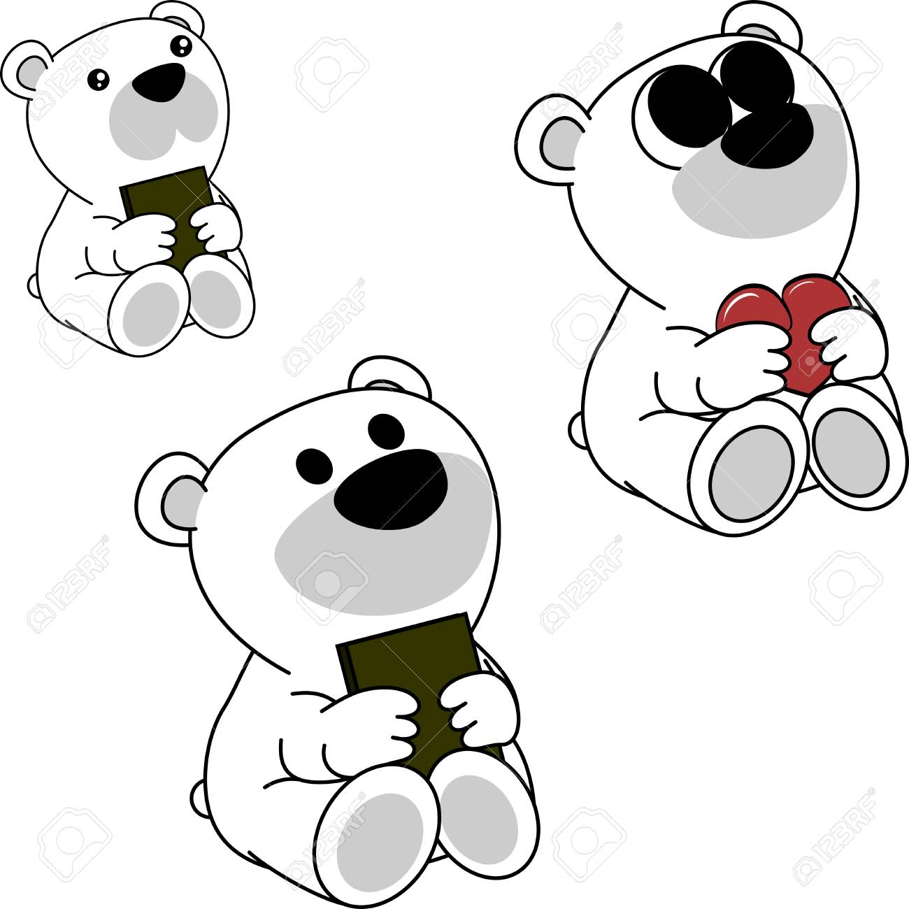 Cute Little Polar Bear Cartoon Set In Vector Format Very Easy