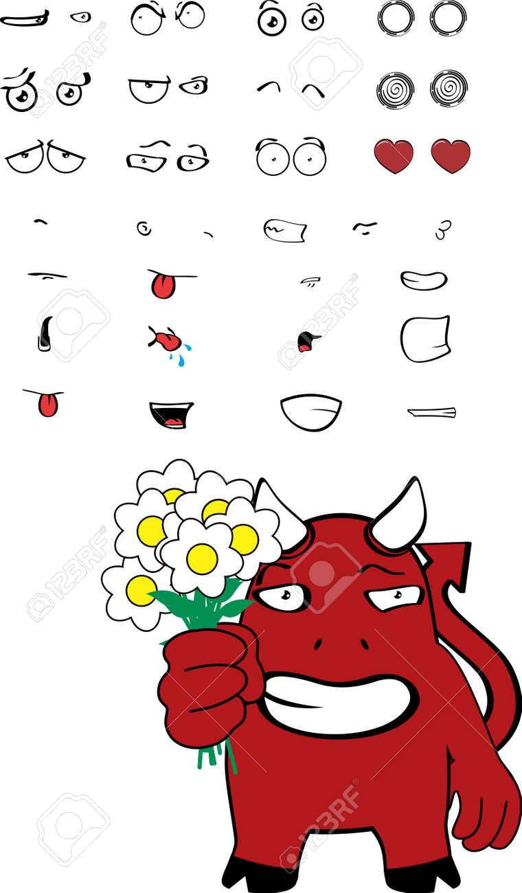 Divertido Rojo Jóvenes Demonio Expresiones De Dibujos Animados En Formato Vectorial