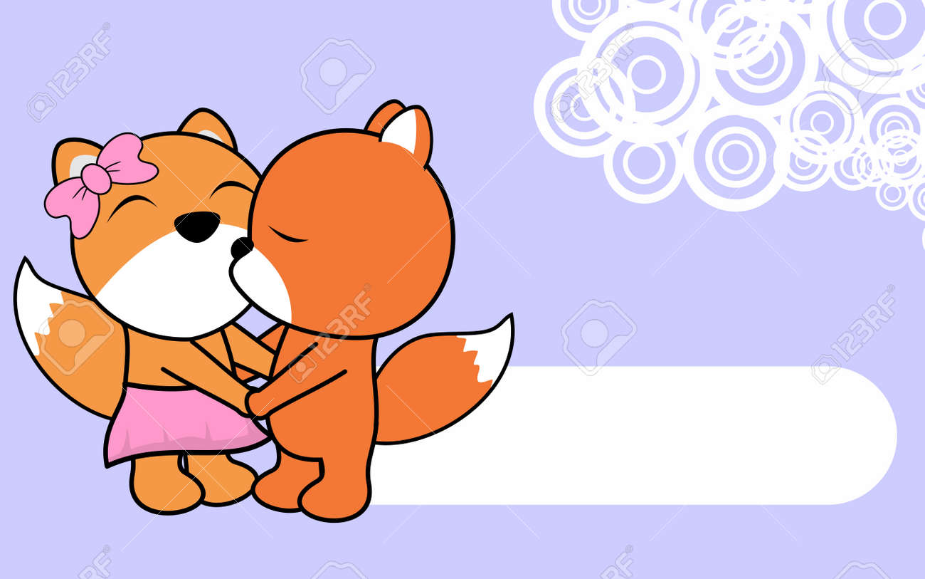 cute love baby boy and girl fox cartoon background in vector