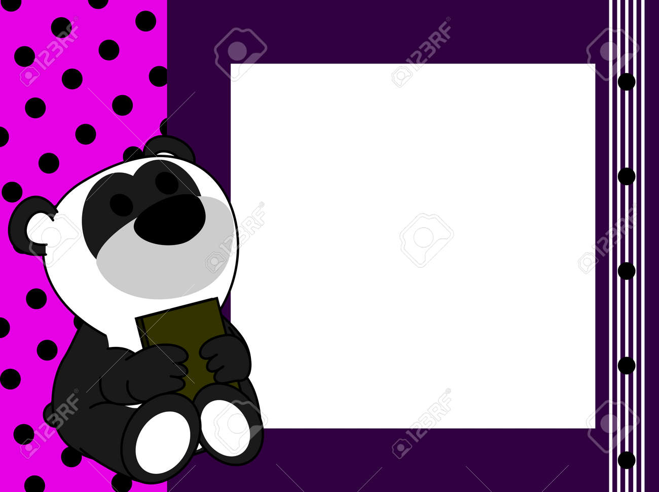 Anxiety Stuffed Animal, Cute Baby Panda Teddy Bear Book Picture Frame Background In Vector Royalty Free Cliparts Vectors And Stock Illustration Image 89687664