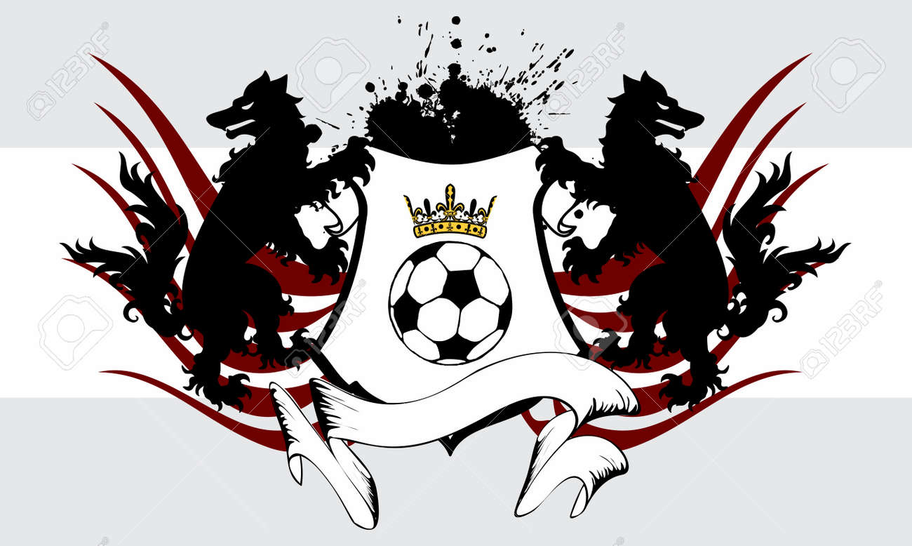 heraldic soccer wolf crest coat of arms background in vector
