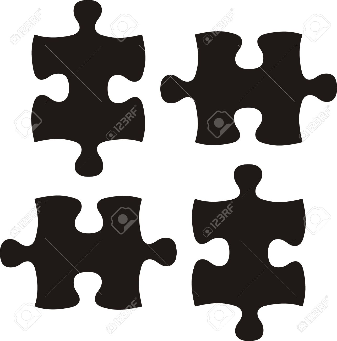 Puzzle Pieces Vector File Very Easy To Edit Individual Objects Stock
