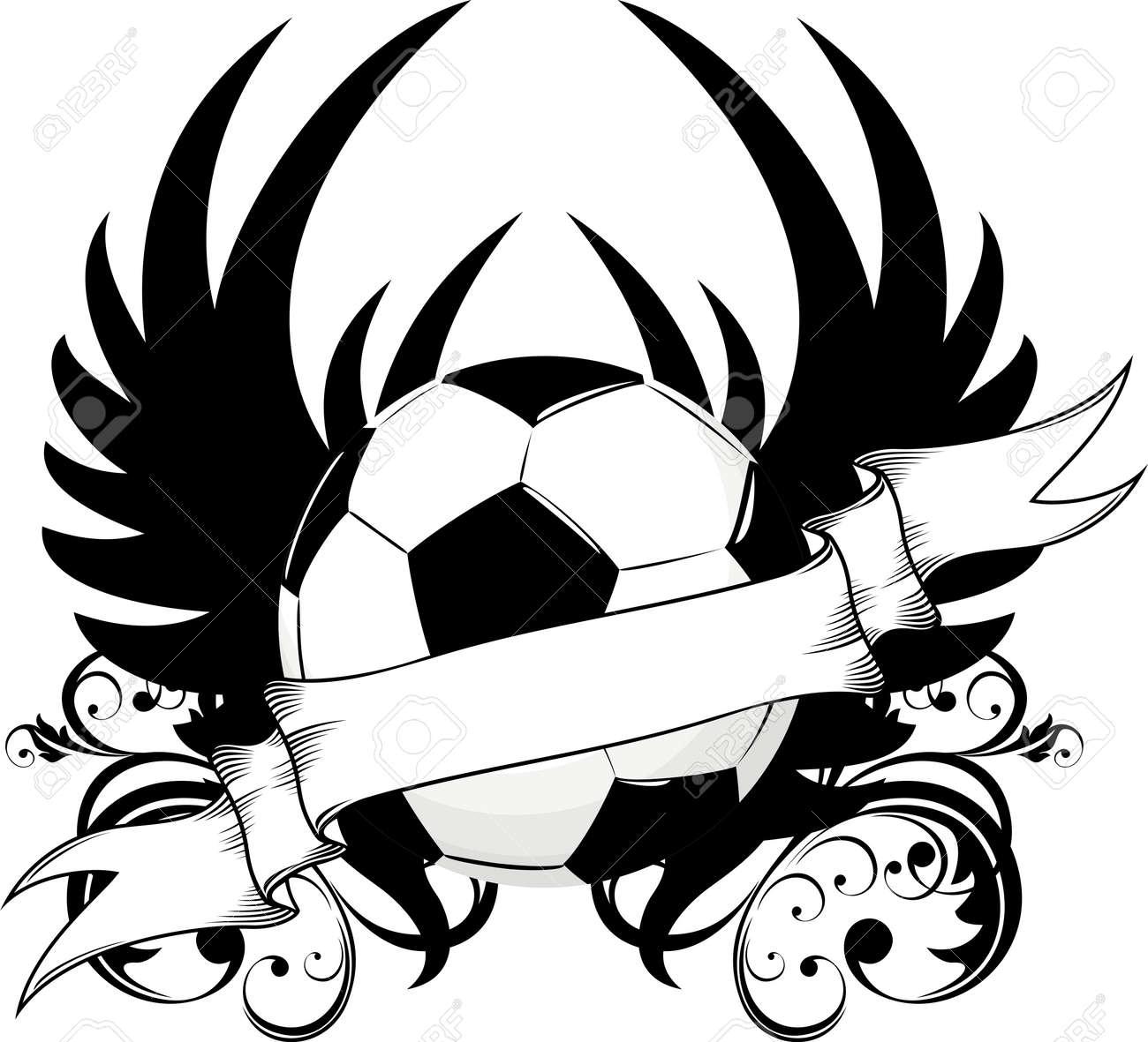 Diseño De Alas De Pelotas De Fútbol Ilustraciones Vectoriales Clip
